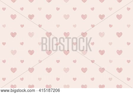 Seamless Glittery Pink Hearts Patterned Background High Quality