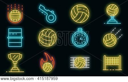Volleyball Icons Set. Outline Set Of Volleyball Vector Icons Neon Color On Black