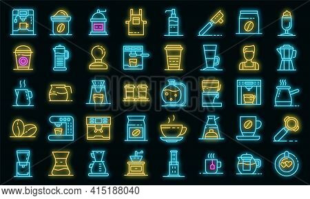 Barista Icons Set. Outline Set Of Barista Vector Icons Neon Color On Black