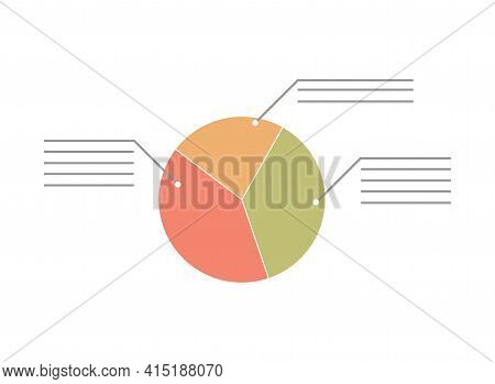 Abstract Pie Chart With Three Sections Vector Flat Illustration. Circle Graphics. Political Election