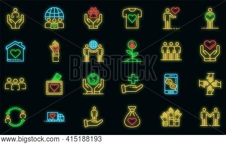 Volunteering Icons Set. Outline Set Of Volunteering Vector Icons Neon Color On Black