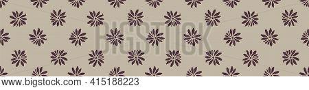 Hand Carved Flower Block Print Seamless Border Pattern. Rustic Naive Folk Motif Illustration Banner.