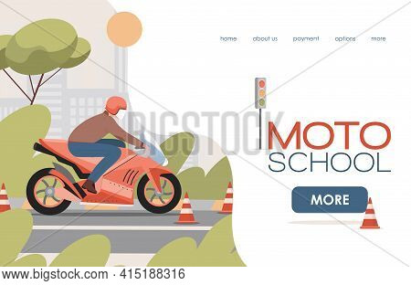 Moto School Vector Flat Landing Page Template With Text Space. Man Riding On Motor Bike Between Caut