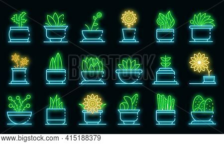 Houseplants Icons Set. Outline Set Of Houseplants Vector Icons Neon Color On Black