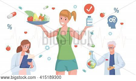 Happy Smiling Woman In Sport Clothes Holding Plate With Fruits And Vegetables And Bottle With Vitami