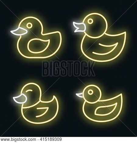 Duck Icons Set. Outline Set Of Duck Vector Icons Neon Color On Black