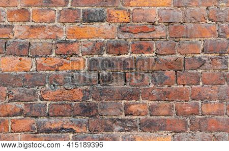 Seamless Background Photo Of Grungy Red Old Brick Wall, Close-up Photo Texture