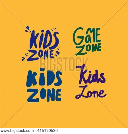 A Set Of Inscriptions Game Zone Icons. Vector Illustration Of Dark Letters. Collection Of Logos For