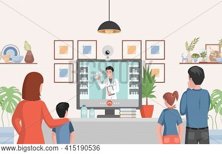 Online Drugstore Vector Flat Illustration. Family Looking At Display Consulting With Doctor About Dr