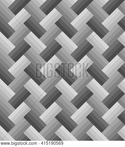 Gray Gradient Rectangle Pattern, Three Layers Zigzag Arrangement, Seamless Background. Textured Desi