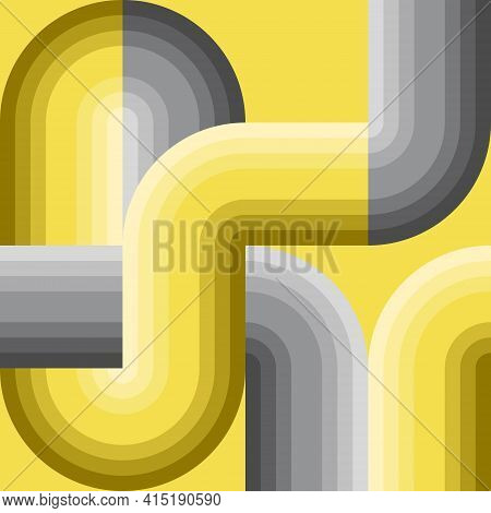 Yellow Gray Gradient Pipe Shape. Abstract Pattern Background. Cross Lines Intersecting And Connected