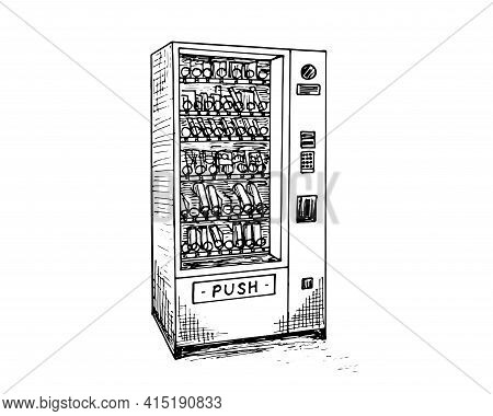 Vending Machine With Beverage Bottles And Cans Hand Drawn Sketch. Automatic Snack And Drink Sale Mac