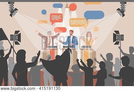 Public Debates Of Political Candidates Vector Flat Illustration. Politicians Discussing At Tribunes.