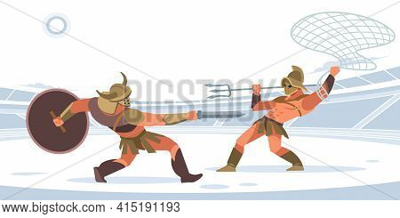Warriors Fighting In The Arena Of Gladiators. Gladiator Murmillo Gladius And A Retiarius With Net An