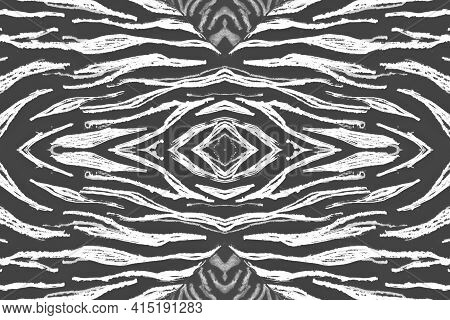 Seamless Zebra Stripes. Abstract Animal Texture. Watercolor Jungle Skin. White Camouflage Ornament.