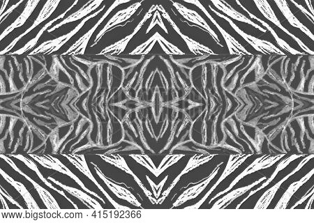 Seamless Zebra Lines. Abstract Animal Design. Watercolor Tiger Fur. Black Camouflage Ornament. Gray
