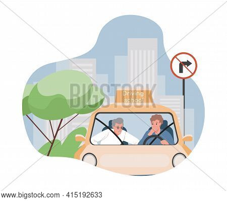 Driving School Vector Flat Illustration. Student Practicing And Learning Traffic Rules For Passing E