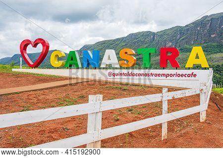 São Roque De Minas - Mg, Brazil - December 13, 2020: Tourist Totem With A Red Heart, Love Canastra A