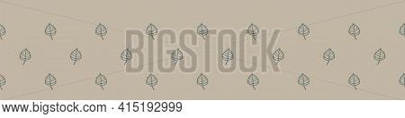 Hand Carved Leaf Block Print Seamless Border Pattern. Rustic Naive Folk Motif Illustration Banner. M