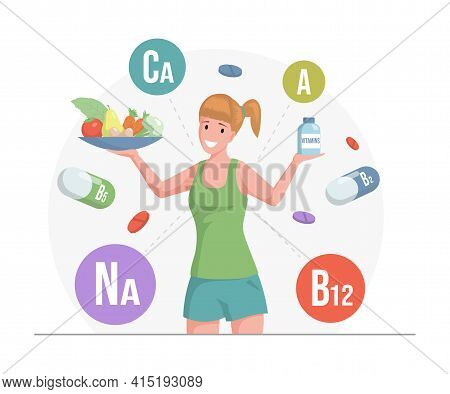 Woman In Sport Clothes Holding Plate With Fruits And Vegetables And Bottle With Vitamins Vector Flat