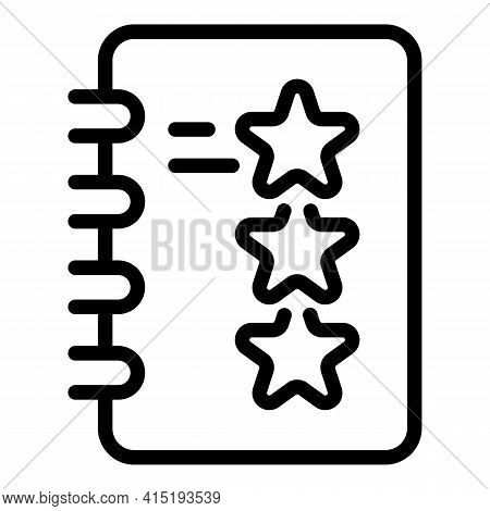 Task Schedule Stars Icon. Outline Task Schedule Stars Vector Icon For Web Design Isolated On White B