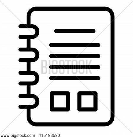 Task Schedule Notepad Icon. Outline Task Schedule Notepad Vector Icon For Web Design Isolated On Whi