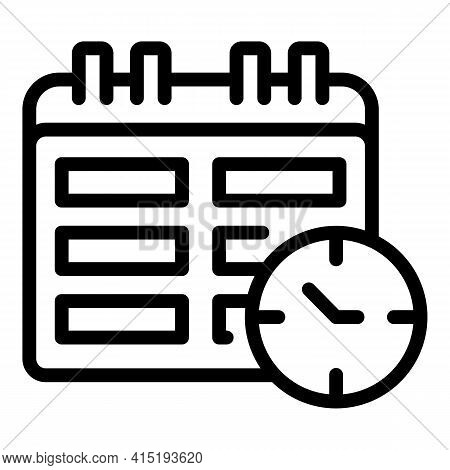 Task Schedule Calendar Time Icon. Outline Task Schedule Calendar Time Vector Icon For Web Design Iso