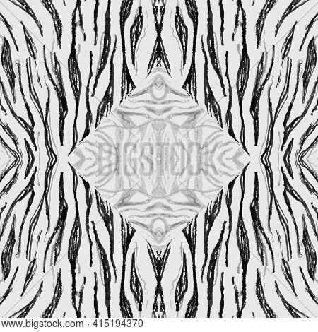 Seamless Zebra Texture. Watercolour Animal Fur. White Fashion Wild Background. Jungle Stripe Fabric.