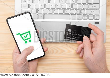 Online Paying Shopping, Electronic Payment With Credit Card, Cell Phone Mockup, Laptop Over Wooden T