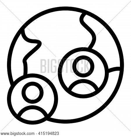 Global Crew Icon. Outline Global Crew Vector Icon For Web Design Isolated On White Background