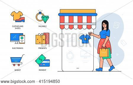 Online Shopping - Colorful Flat Design Style Poster