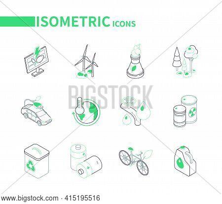 Eco Lifestyle - Modern Line Isometric Icons Set