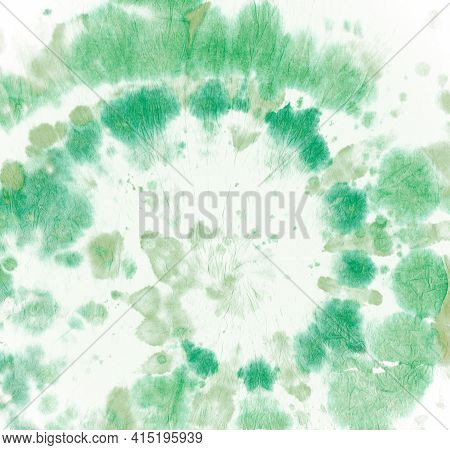 Tie Dye Circular. Batik Watercolor Texture. Abstract Spiral Backdrop. Green Tye Die Round. Art Color