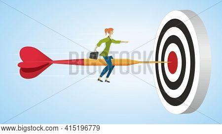 Woman Riding On Dart Arrow To Goal, Dartboard. Dimension 16:9. Vector Illustration. Eps10.