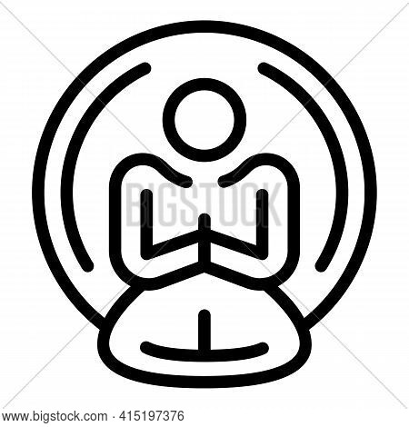 Meditation Peace Icon. Outline Meditation Peace Vector Icon For Web Design Isolated On White Backgro