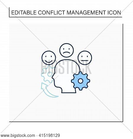 Managing Emotions Line Icon. Control Positive And Negative Emotions. Emotional Dysregulation. Burnou