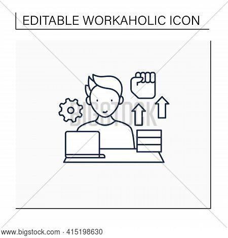 Workaholic Line Icon. Motivational Causes. Man Works Sitting Near Laptop. Hard Working. Overworking
