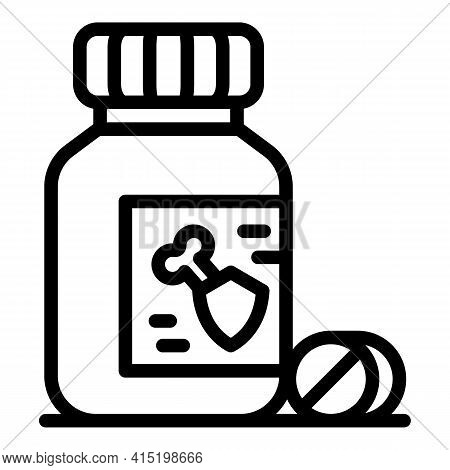 Calcium Capsule Jar Icon. Outline Calcium Capsule Jar Vector Icon For Web Design Isolated On White B