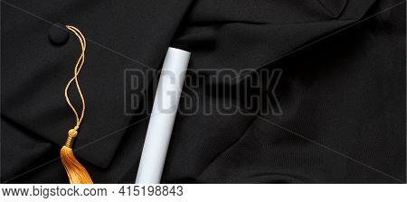 Graduation Top View Concept With Academical Hat And Diploma