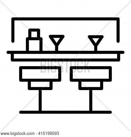 Street Bar Counter Icon. Outline Street Bar Counter Vector Icon For Web Design Isolated On White Bac