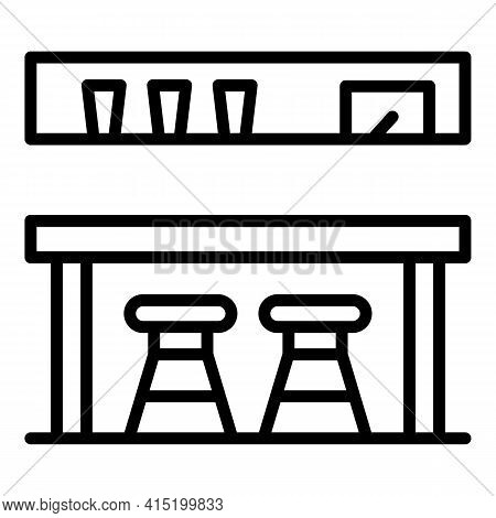Tavern Counter Icon. Outline Tavern Counter Vector Icon For Web Design Isolated On White Background