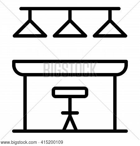 Food Counter Icon. Outline Food Counter Vector Icon For Web Design Isolated On White Background