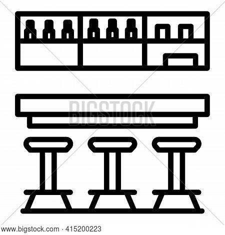 Bar Counter Room Icon. Outline Bar Counter Room Vector Icon For Web Design Isolated On White Backgro