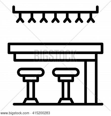 Bar Stool Icon. Outline Bar Stool Vector Icon For Web Design Isolated On White Background