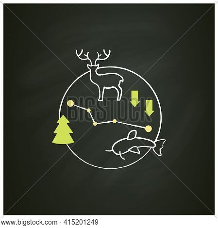 Biodiversity Chalk Icon.variety, Life Variability On Earth. Different Animals, Plants Kinds. Underwa