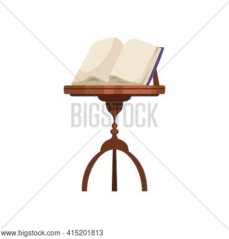 Old Library Interior Composition With Isolated Image Of Vintage Book Set On Wooden Easel Vector Illu