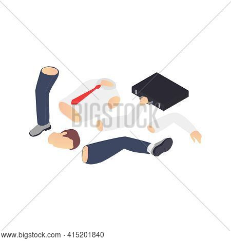 Professional Burnout Depression Frustration Isometric Composition With Images Of Business Workers Li