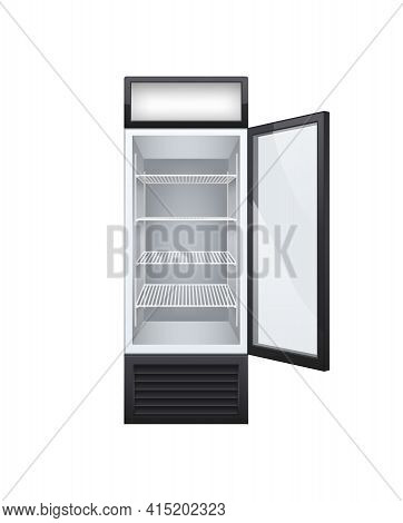 Commercial Glass Door Drink Fridge Realistic Composition With Isolated Image Of Fridge With Opened D