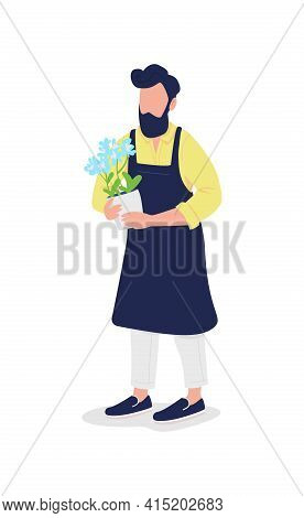 Male Florist In Apron With Flower Flat Color Vector Faceless Character