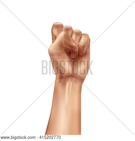 Realistic World Day Social Justice Composition With Isolated Image Of Hand Fist Gesture Raised In Pr
